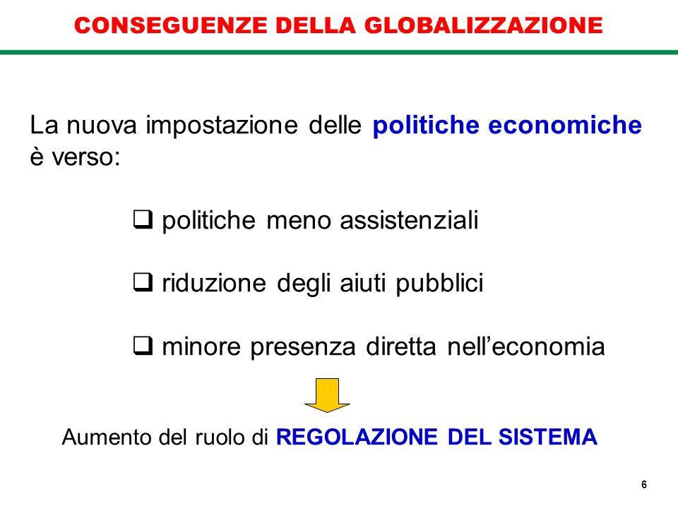 La nuova impostazione delle politiche economiche è verso:
