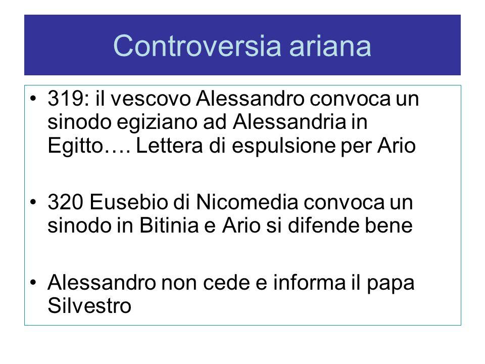 Controversia ariana 319: il vescovo Alessandro convoca un sinodo egiziano ad Alessandria in Egitto…. Lettera di espulsione per Ario.
