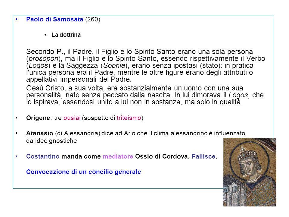 Paolo di Samosata (260) La dottrina.
