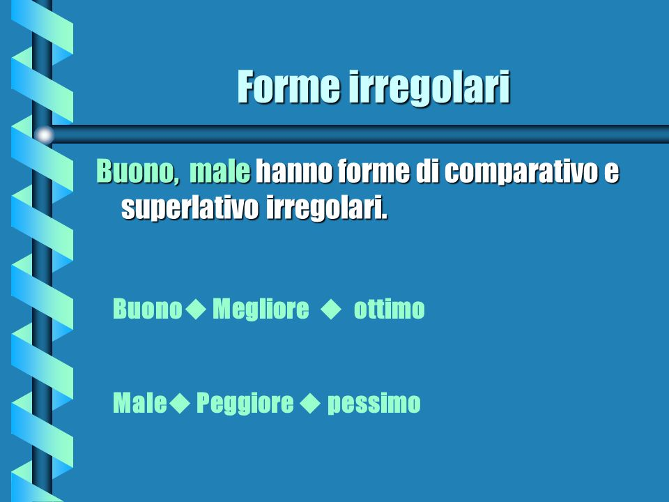 Forme irregolariBuono, male hanno forme di comparativo e superlativo irregolari. Buono Megliore  ottimo.