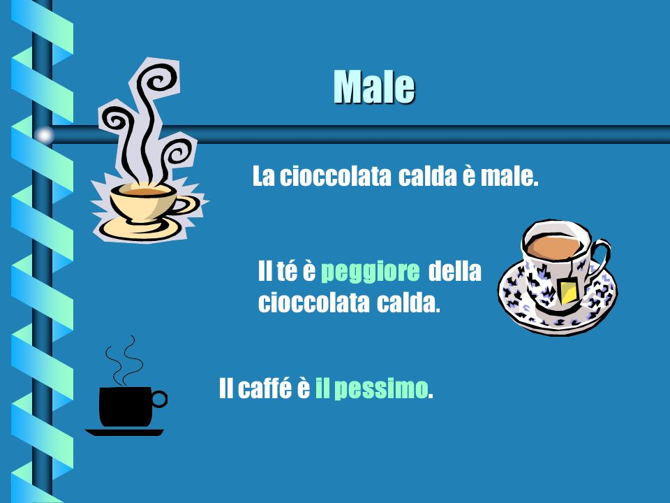 Male La cioccolata calda è male. Il té è peggiore della