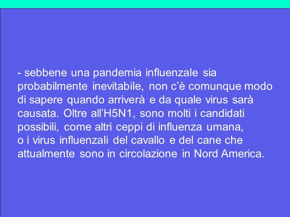 - sebbene una pandemia influenzale sia