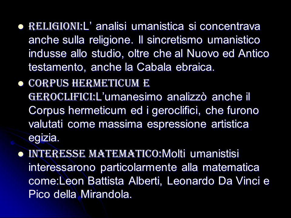 Religioni:L' analisi umanistica si concentrava anche sulla religione