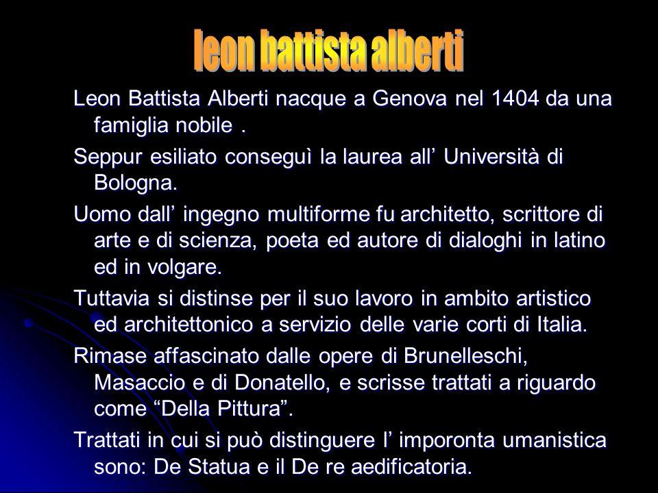 leon battista alberti Leon Battista Alberti nacque a Genova nel 1404 da una famiglia nobile .