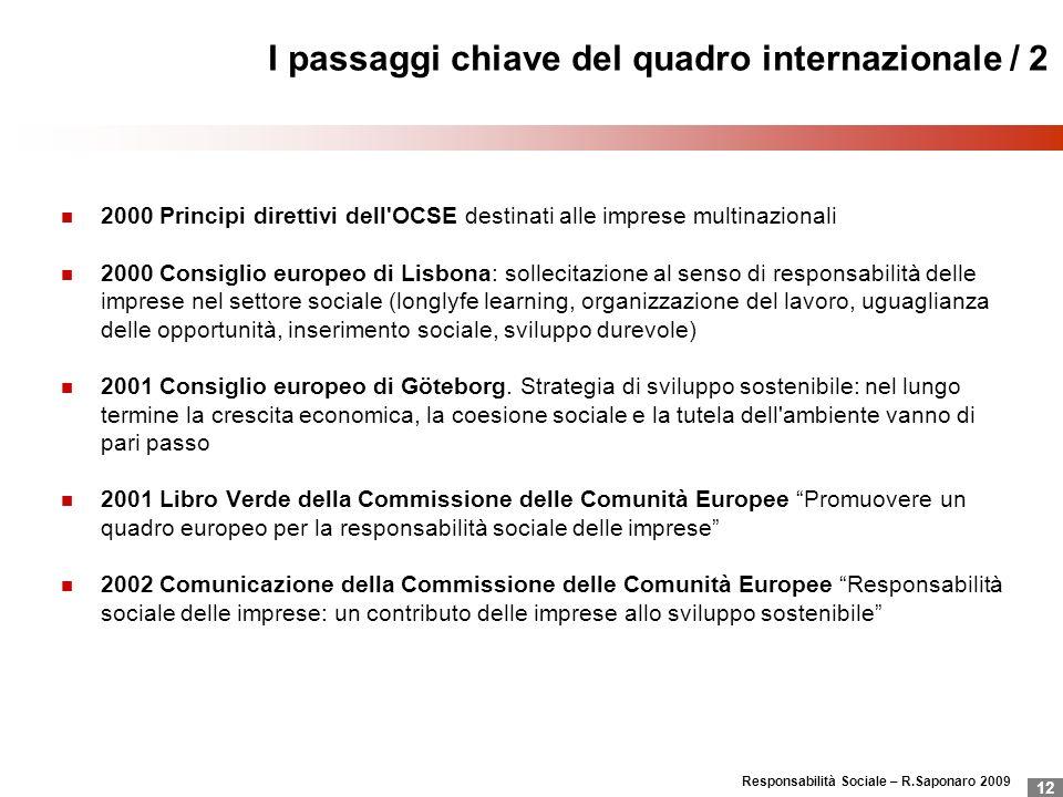 I passaggi chiave del quadro internazionale / 2