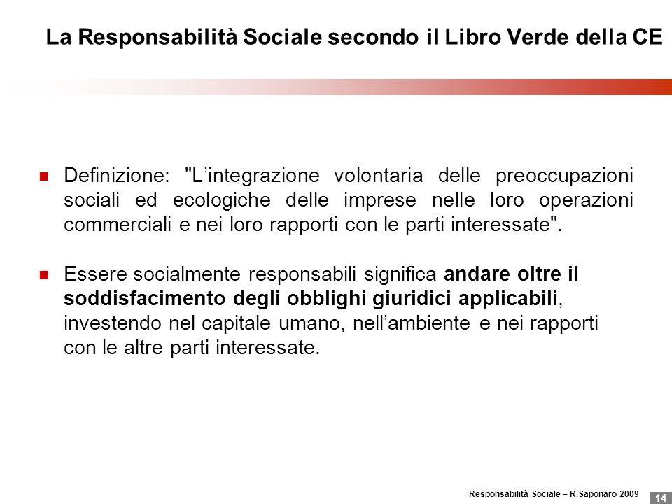 La Responsabilità Sociale secondo il Libro Verde della CE