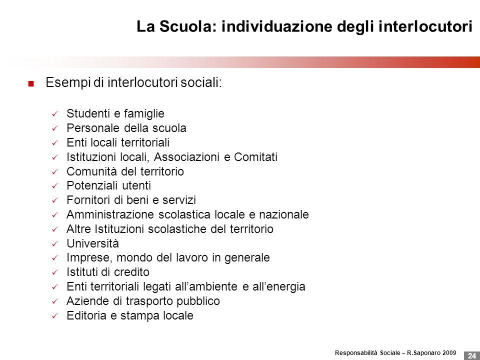 La Scuola: individuazione degli interlocutori