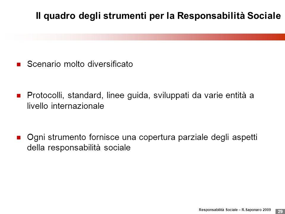 Il quadro degli strumenti per la Responsabilità Sociale
