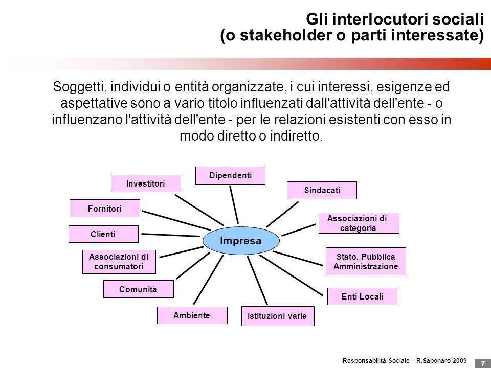 Gli interlocutori sociali (o stakeholder o parti interessate)