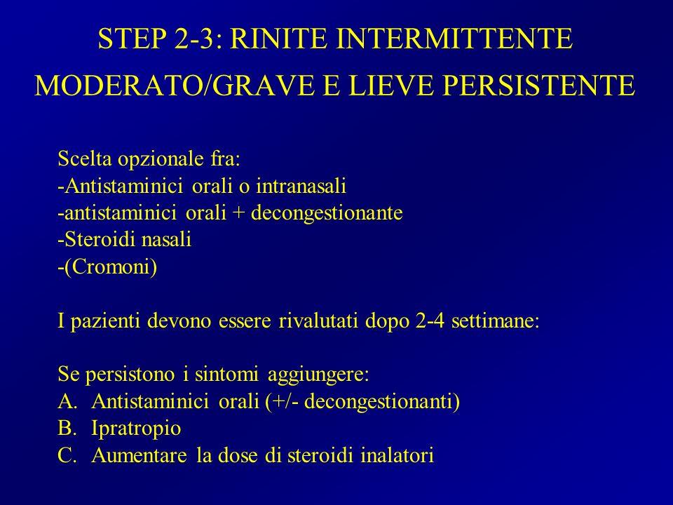 STEP 2-3: RINITE INTERMITTENTE MODERATO/GRAVE E LIEVE PERSISTENTE