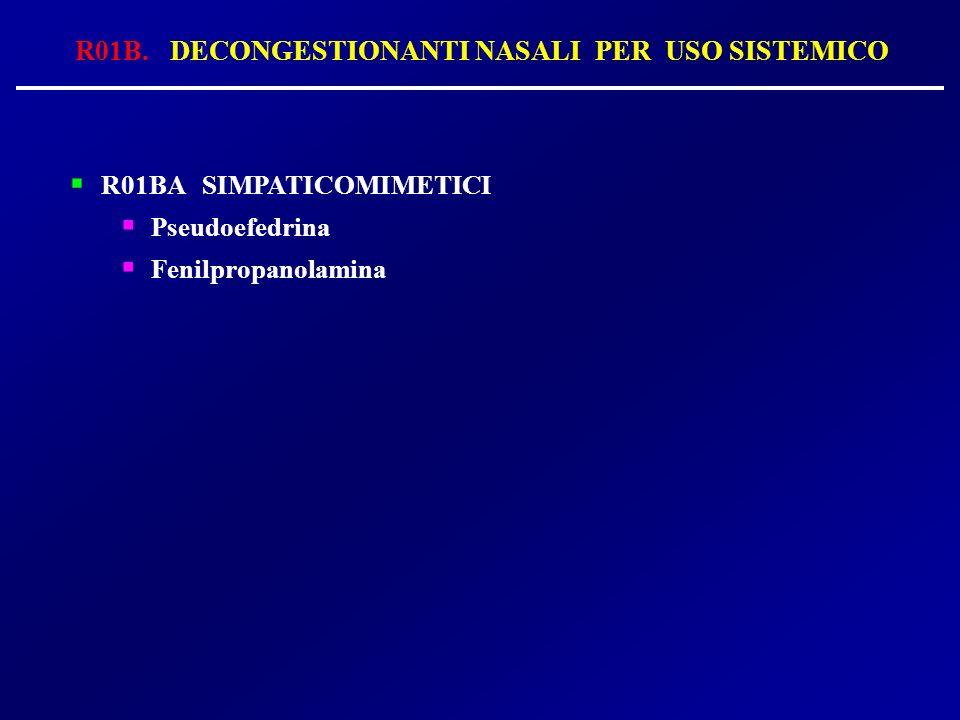 R01B. DECONGESTIONANTI NASALI PER USO SISTEMICO