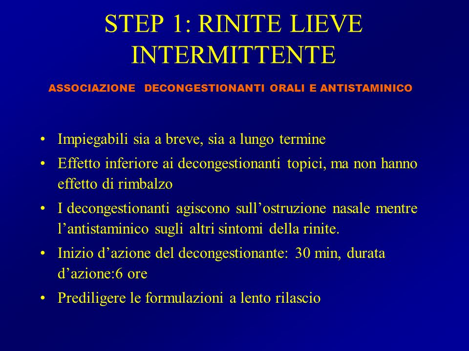 STEP 1: RINITE LIEVE INTERMITTENTE