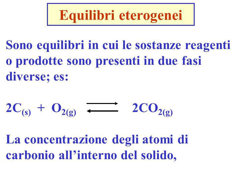Equilibri eterogenei Sono equilibri in cui le sostanze reagenti