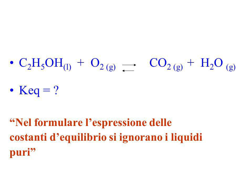 C2H5OH(l) + O2 (g) CO2 (g) + H2O (g) Keq =