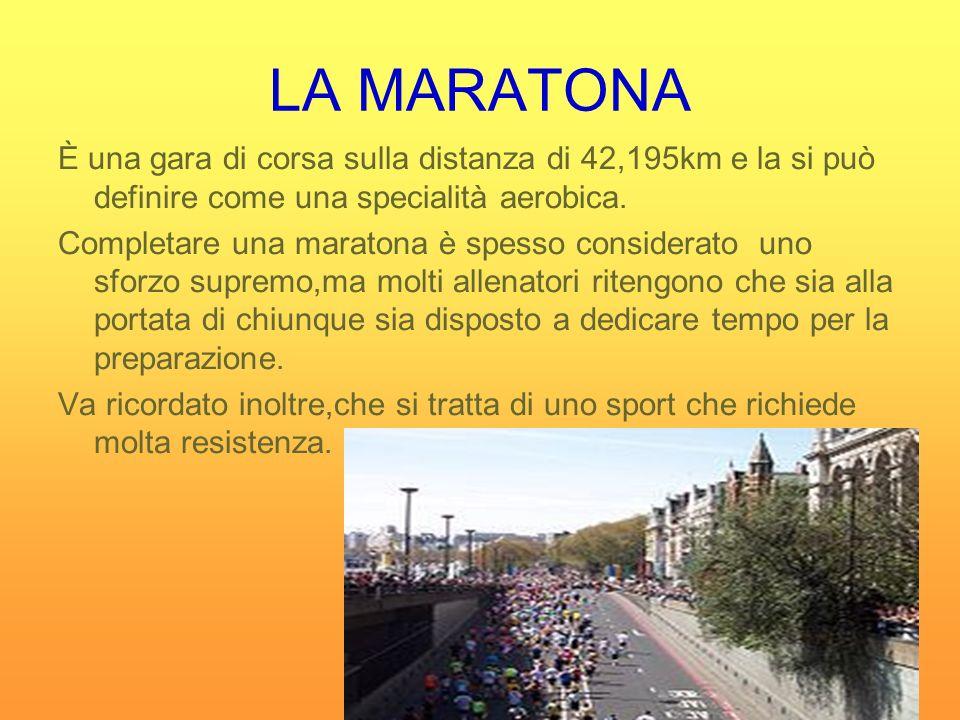 LA MARATONA È una gara di corsa sulla distanza di 42,195km e la si può definire come una specialità aerobica.