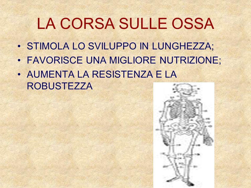 LA CORSA SULLE OSSA STIMOLA LO SVILUPPO IN LUNGHEZZA;