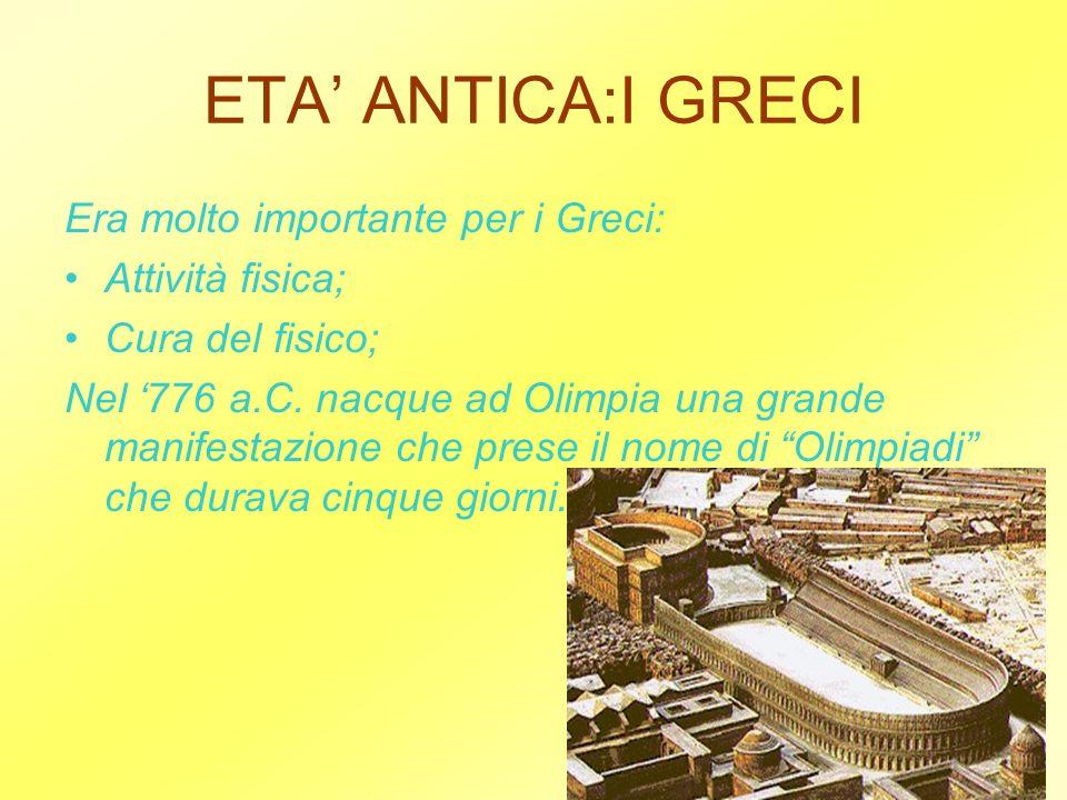 ETA' ANTICA:I GRECI Era molto importante per i Greci: Attività fisica;