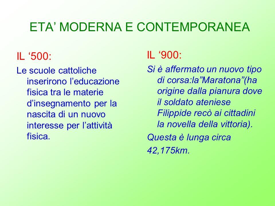 ETA' MODERNA E CONTEMPORANEA