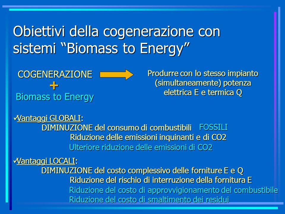 Obiettivi della cogenerazione con sistemi Biomass to Energy
