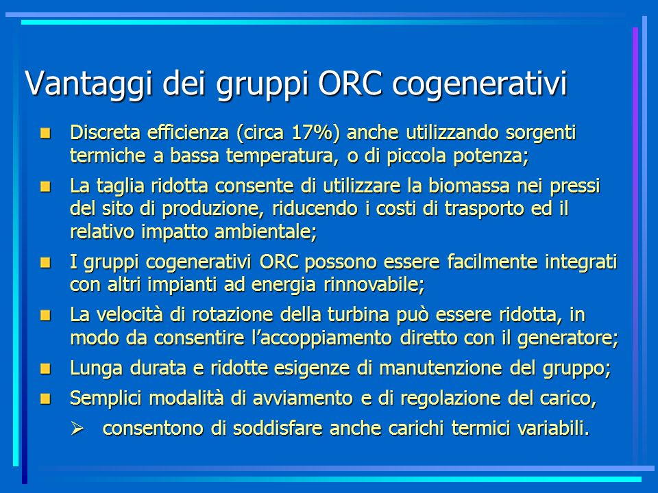 Vantaggi dei gruppi ORC cogenerativi