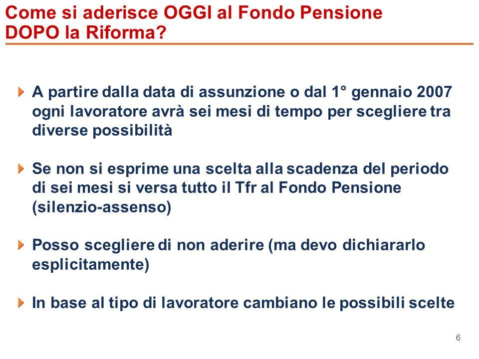 Come si aderisce OGGI al Fondo Pensione DOPO la Riforma