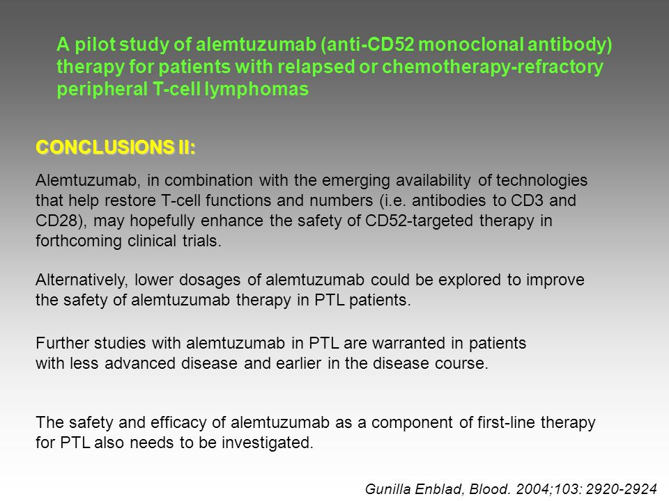 A pilot study of alemtuzumab (anti-CD52 monoclonal antibody) therapy for patients with relapsed or chemotherapy-refractory peripheral T-cell lymphomas