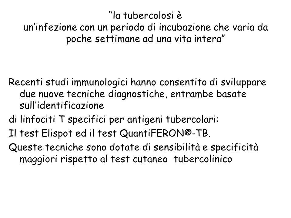 la tubercolosi è un'infezione con un periodo di incubazione che varia da poche settimane ad una vita intera