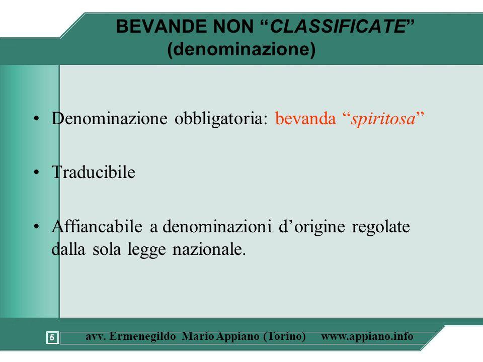 BEVANDE NON CLASSIFICATE (denominazione)