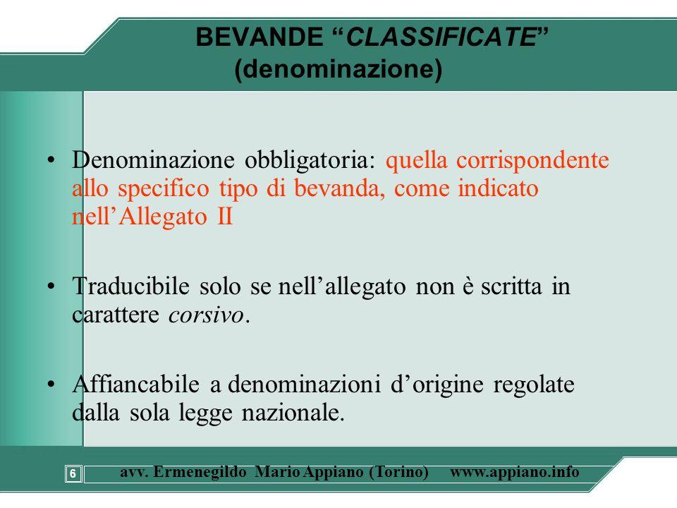 BEVANDE CLASSIFICATE (denominazione)