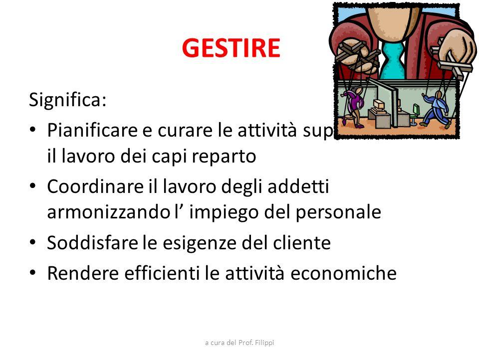 GESTIRE Significa: Pianificare e curare le attività supervisionando il lavoro dei capi reparto.