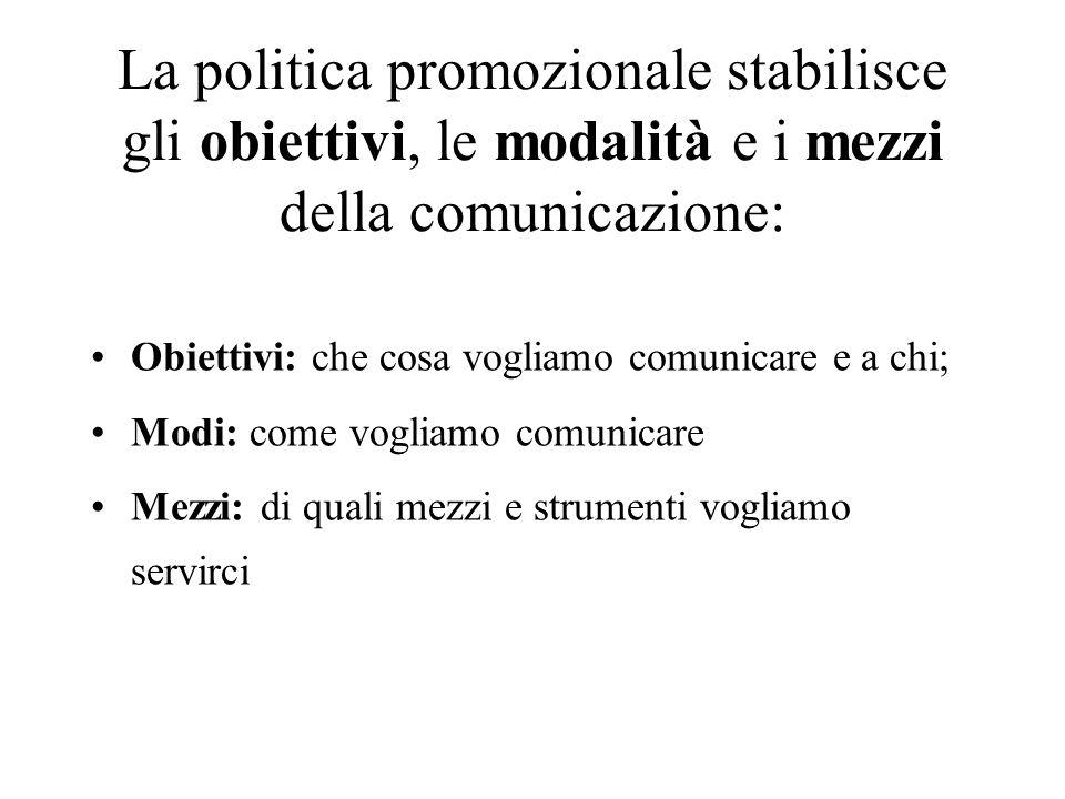 La politica promozionale stabilisce gli obiettivi, le modalità e i mezzi della comunicazione: