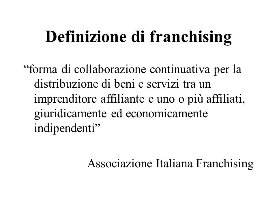 Definizione di franchising