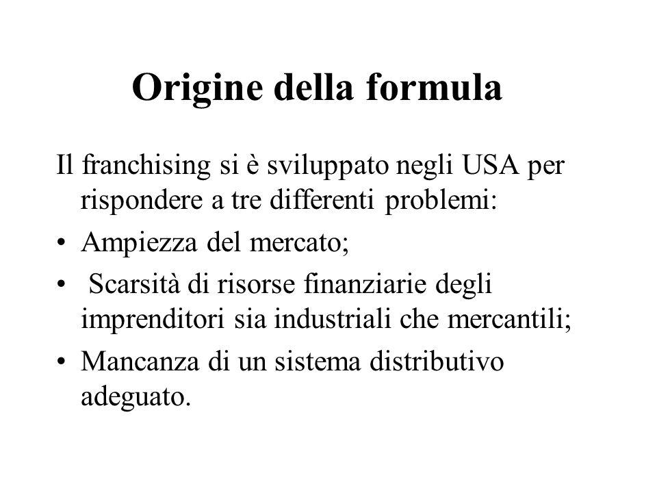 Origine della formula Il franchising si è sviluppato negli USA per rispondere a tre differenti problemi: