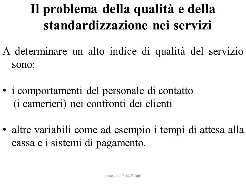 Il problema della qualità e della standardizzazione nei servizi
