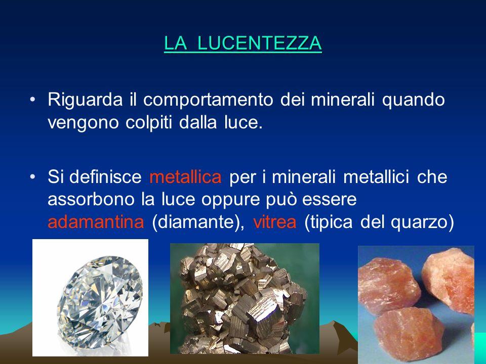 LA LUCENTEZZA Riguarda il comportamento dei minerali quando vengono colpiti dalla luce.