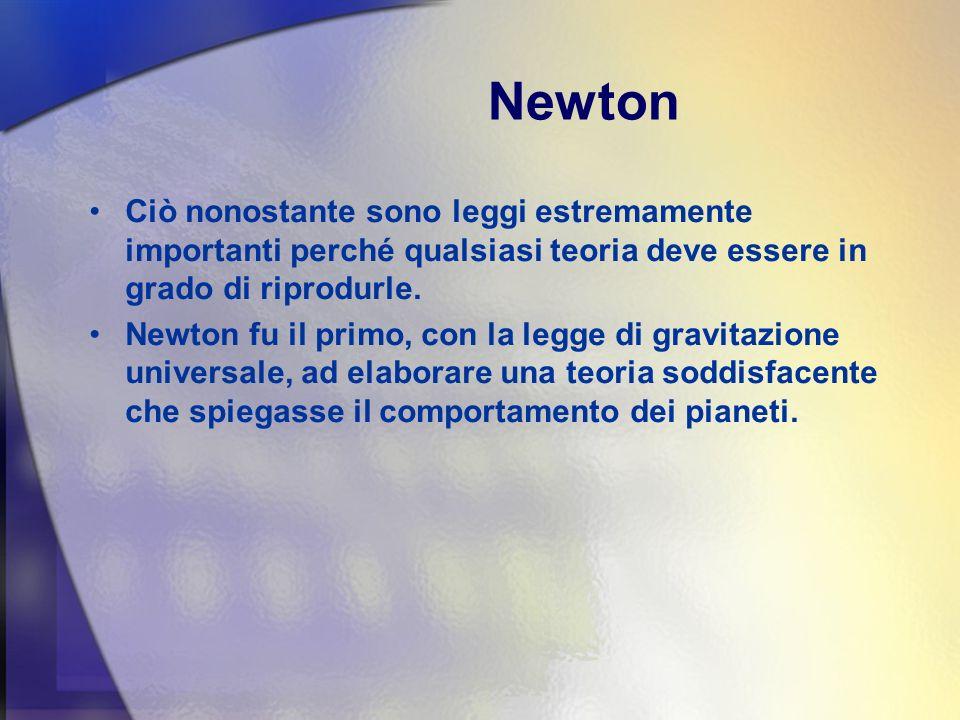 Newton Ciò nonostante sono leggi estremamente importanti perché qualsiasi teoria deve essere in grado di riprodurle.