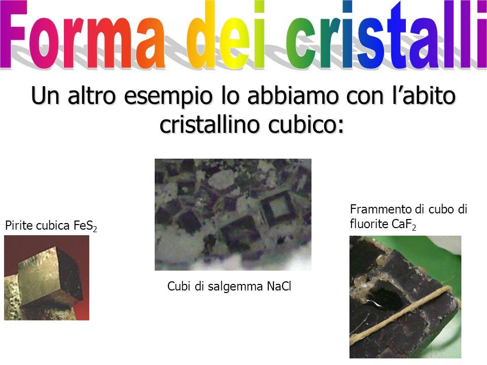 Un altro esempio lo abbiamo con l'abito cristallino cubico: