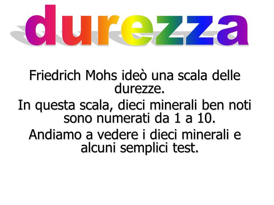 Friedrich Mohs ideò una scala delle durezze.