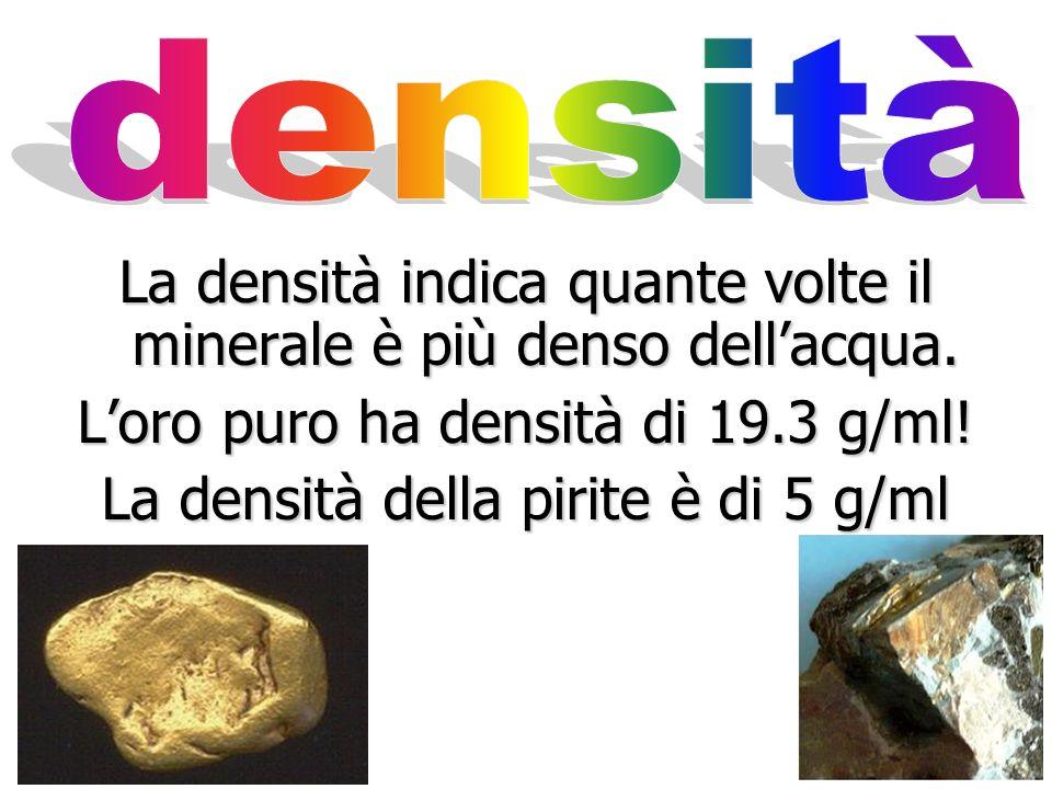 La densità indica quante volte il minerale è più denso dell'acqua.
