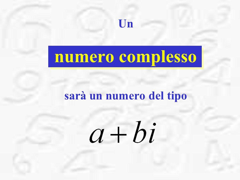 Un numero complesso sarà un numero del tipo