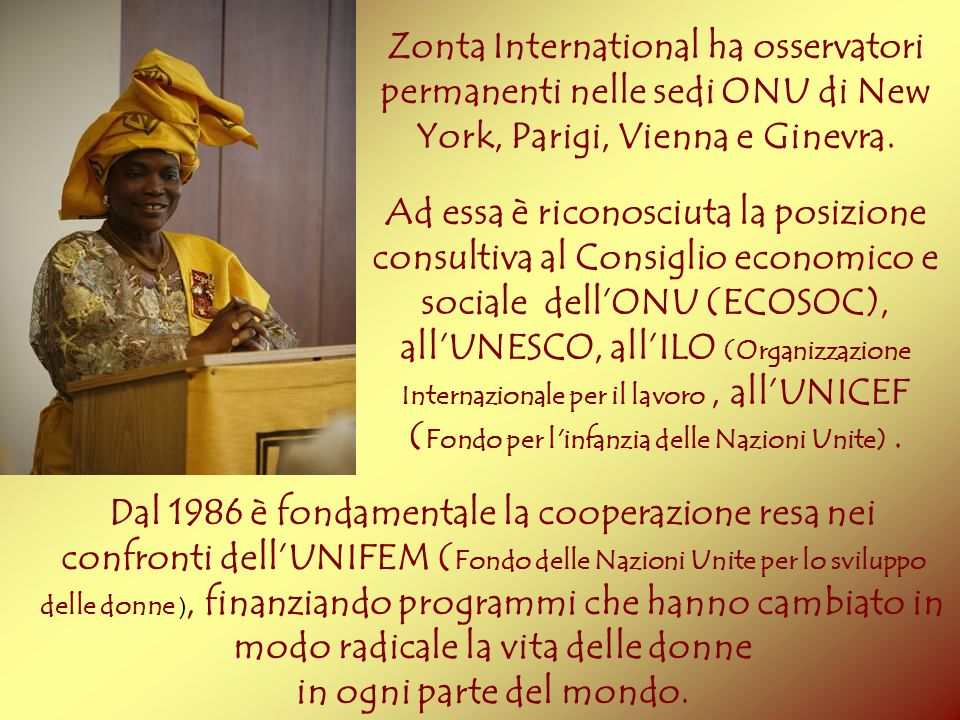 Zonta International ha osservatori permanenti nelle sedi ONU di New York, Parigi, Vienna e Ginevra.