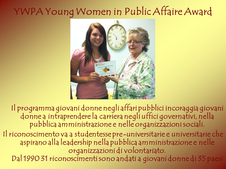 YWPA Young Women in Public Affaire Award