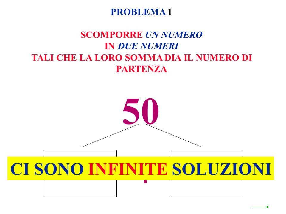 50 + CI SONO INFINITE SOLUZIONI PROBLEMA 1 SCOMPORRE UN NUMERO