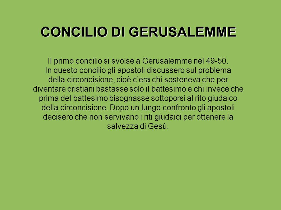 CONCILIO DI GERUSALEMME