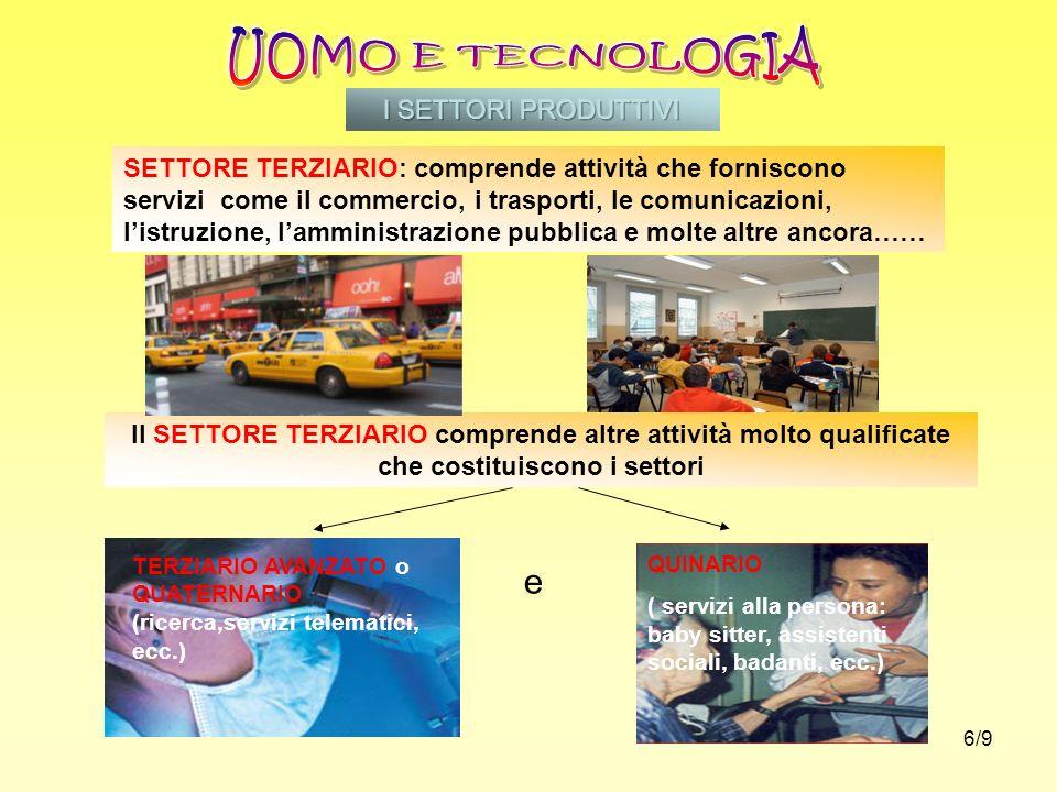 UOMO E TECNOLOGIA e I SETTORI PRODUTTIVI