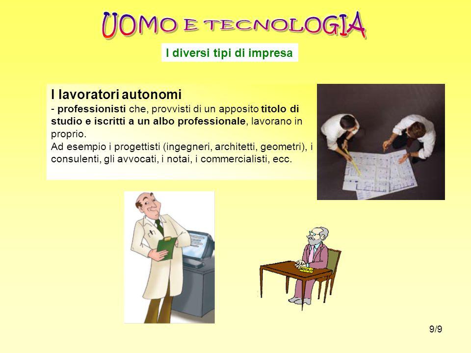 UOMO E TECNOLOGIA I lavoratori autonomi I diversi tipi di impresa