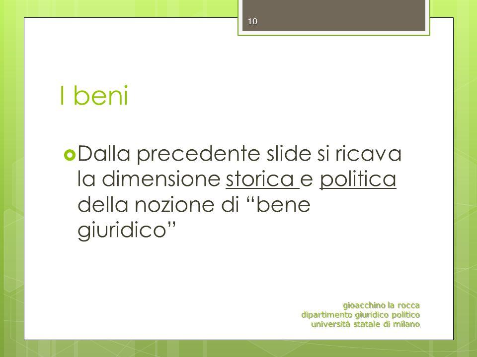 I beni Dalla precedente slide si ricava la dimensione storica e politica della nozione di bene giuridico