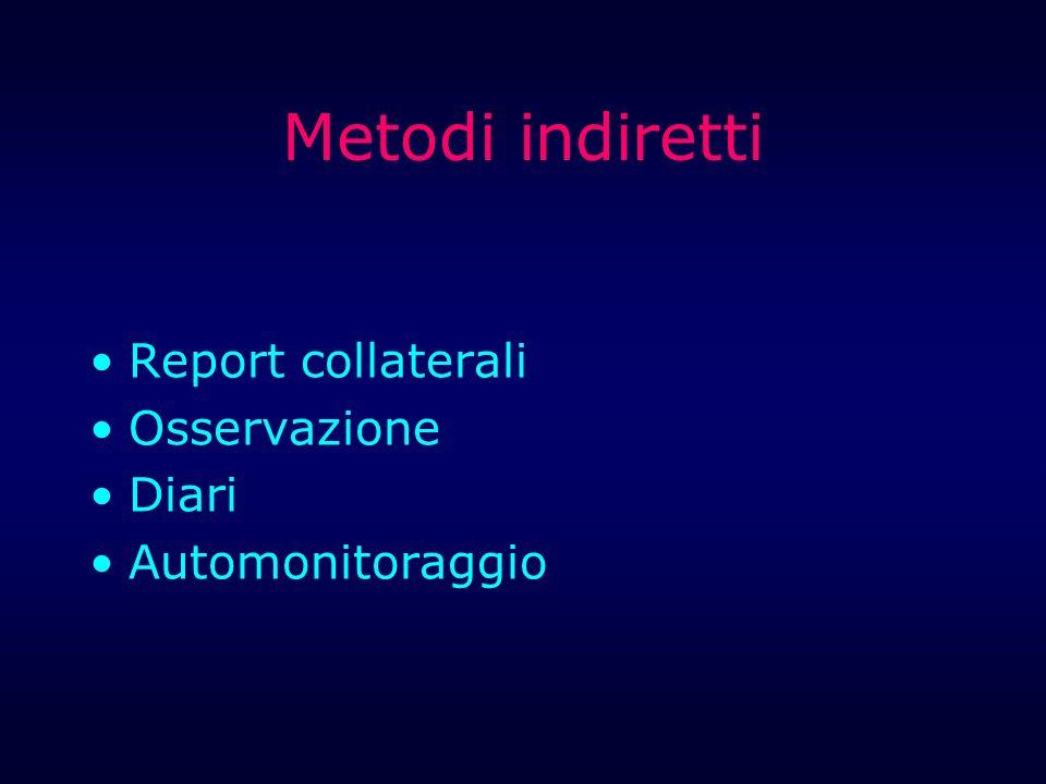 Metodi indiretti Report collaterali Osservazione Diari