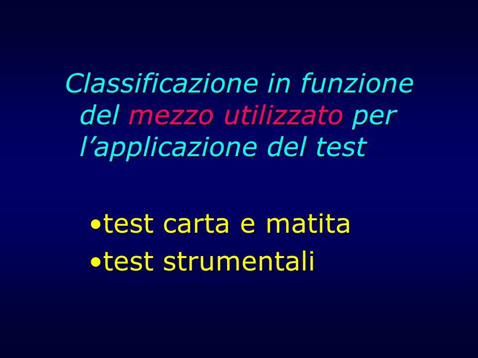 Classificazione in funzione del mezzo utilizzato per l'applicazione del test