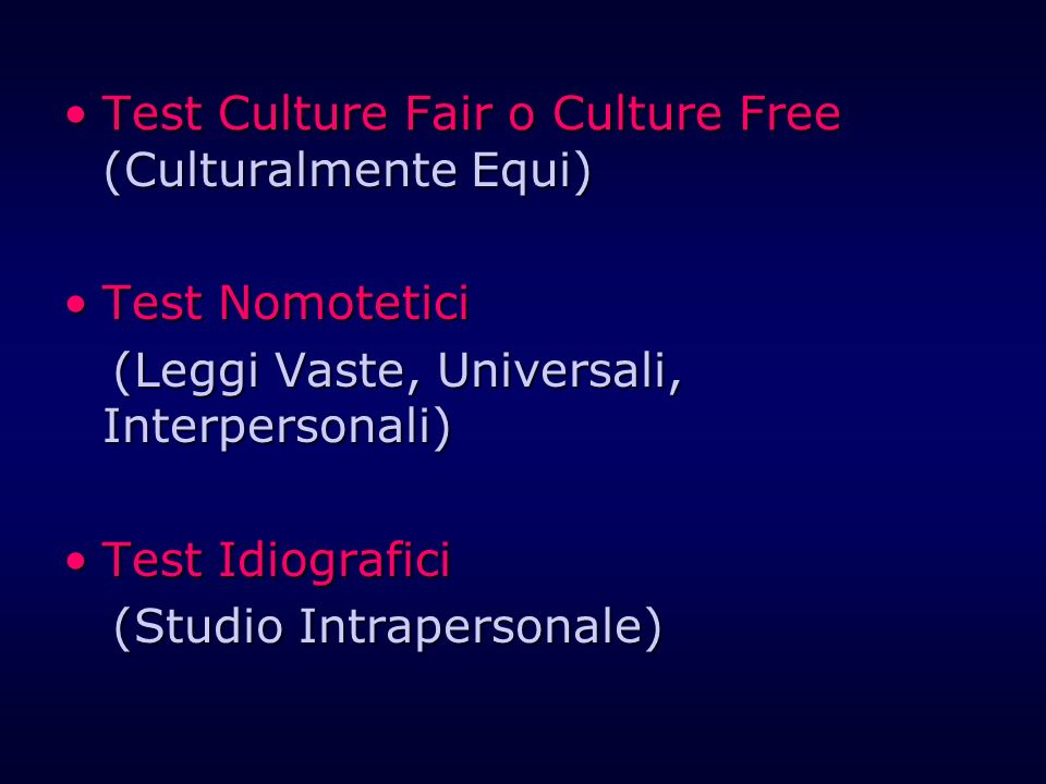Test Culture Fair o Culture Free (Culturalmente Equi)